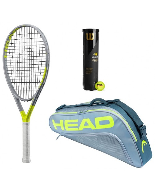 HEAD EXTREME POWER - TENNIS PACK - KIT RACCHETTA + ZAINO TOUR EXTREME 3R PRO + WILSON US OPEN - TUBO 4 PALLE