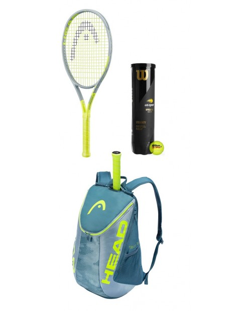 HEAD EXTREME JR - TENNIS PACK - KIT RACCHETTA + ZAINO TOUR EXTREME + WILSON US OPEN - TUBO 4 PALLE